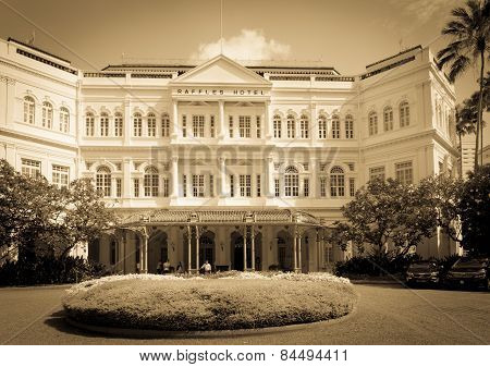 The Raffles Hotel In Singapore Toned In Sepia.