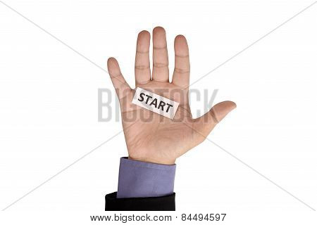 Hand Hold Paper With Start Writing