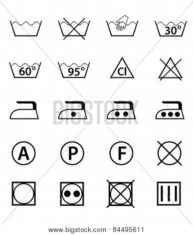 Set Icons Guide For Washing Vector Illustration