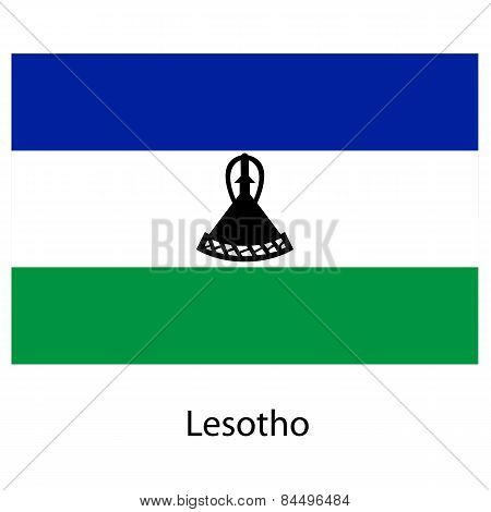 Flag  Of The Country  Lesotho. Vector Illustration.