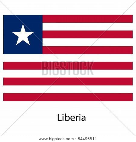 Flag  Of The Country  Liberia. Vector Illustration.