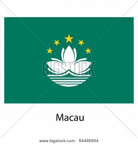 Flag  Of The Country  Macau. Vector Illustration.