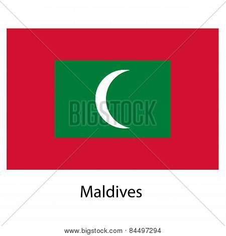 Flag  Of The Country  Maldives. Vector Illustration.