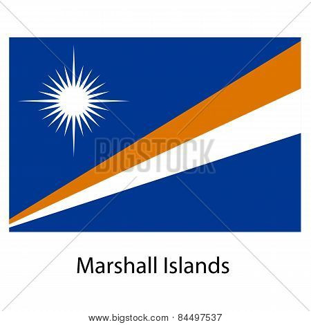 Flag  Of The Country  Mashall Islands. Vector Illustration.