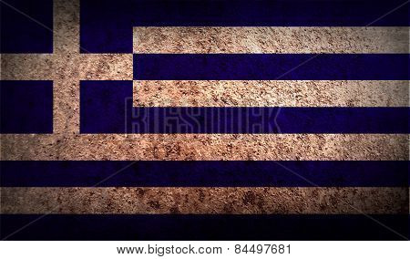 Flag Of Greece With Old Texture. Vector