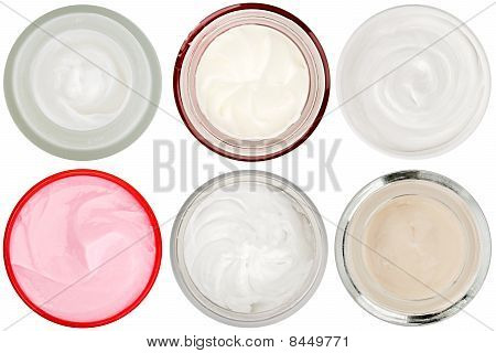 Set Of 6 Different Dermal Creams And Gels Isolated On White