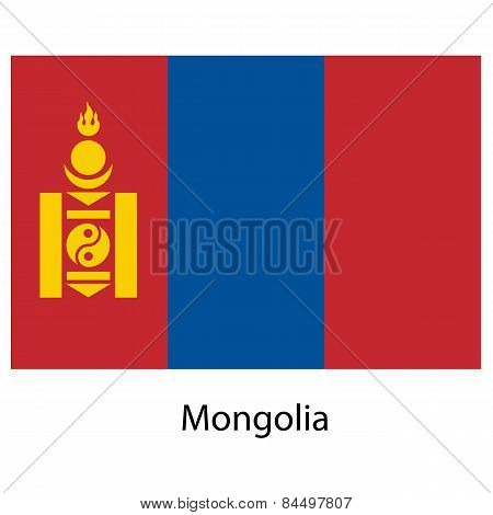 Flag  Of The Country  Mongolia. Vector Illustration.
