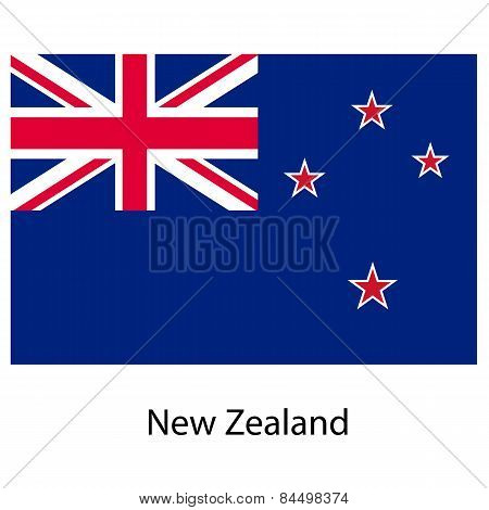 Flag  Of The Country  New Zeland. Vector Illustration.