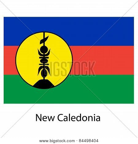 Flag  Of The Country  New Caledonia. Vector Illustration.