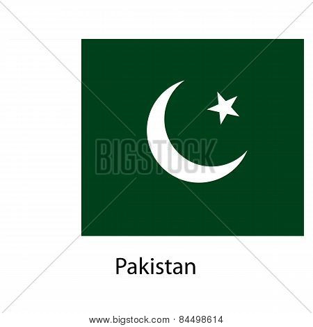 Flag  Of The Country  Pakistan. Vector Illustration.