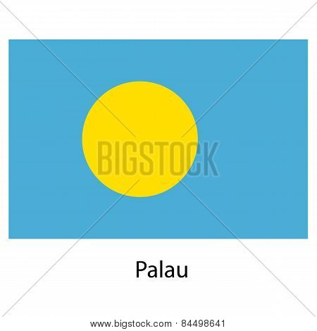 Flag  Of The Country  Palau. Vector Illustration.