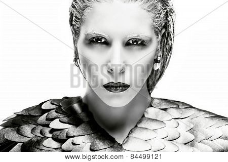 High fashion look, glamor closeup portrait of beautiful stylish young model with black and white mak