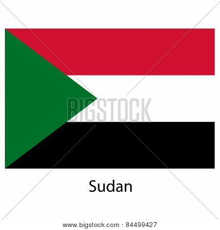 Flag  Of The Country  Sudan. Vector Illustration.