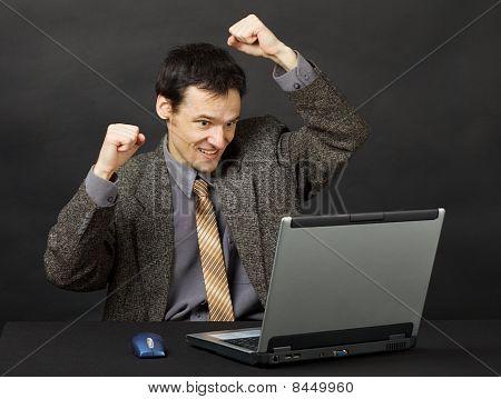 Man - Football Fan, Watches Football Match In Internet