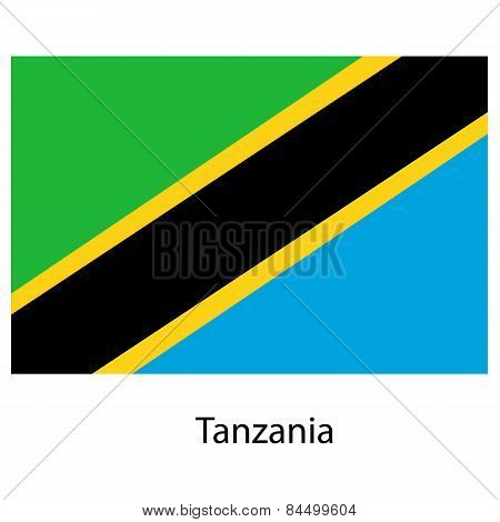 Flag  Of The Country  Tanzania. Vector Illustration.