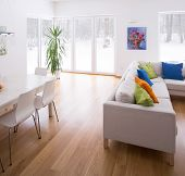 foto of lounge room  - White living room interior with color elements - JPG