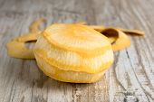 picture of turnips  - Purified yellow turnips on a wooden table - JPG