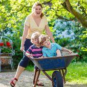 foto of mums  - Two little twins having fun in a wheelbarrow pushing by mum in domestic garden on warm sunny day - JPG