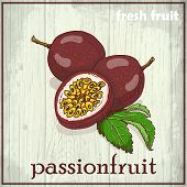 stock photo of moaning  - Hand drawing illustration of passionfruit - JPG
