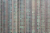 picture of cell block  - apartment windows block locate in Hongkong city - JPG