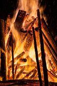 image of bonfire  - Big bonfire at night - JPG