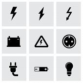 image of electricity meter  - Vector black electricity icon set on grey background - JPG