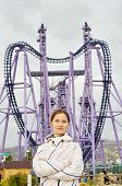 pic of quantum  - Young woman on Quantum jump attraction background in Sochi adventure Olympic Park - JPG