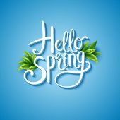 pic of green-blue  - Fresh blue Hello Spring background with flowing white text and green leaves over a glowing graduated blue square background  - JPG