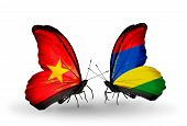 pic of mauritius  - Two butterflies with flags on wings as symbol of relations Vietnam and Mauritius - JPG