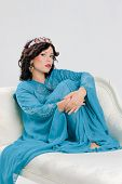 stock photo of yashmak  - Beautiful Adult arabian woman in blue abaya - JPG