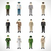 stock photo of soldier  - Military soldier in uniform avatar character set isolated vector illustration - JPG