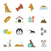 pic of scottish terrier  - Dog icons flat set with dung kennel leash food bowl isolated vector illustration - JPG