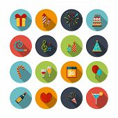 stock photo of party hats  - Celebration icons set with cocktail confetti fireworks cake balloons isolated vector illustration - JPG