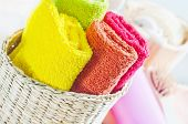 stock photo of disinfection  - towels in basket - JPG