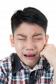 picture of crying boy  - asian cute boy sad and crying on white background - JPG