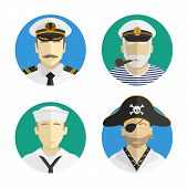 Постер, плакат: Avatars People Profession Sailor Pirate Captain Vector Flat Design