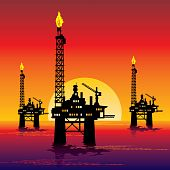 stock photo of oil rig  - vector image of three oil platforms in the sea at sunset - JPG