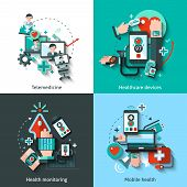 pic of health  - Digital medicine design concept set with telemedicine healthcare devices mobile health monitoring flat icons isolated vector illustration - JPG