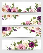 pic of purple white  - Set of four vector web banners with pink - JPG