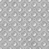 stock photo of yin  - Gray and White Yin Yang Tile Pattern Repeat Background that is seamless and repeats - JPG