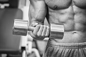 foto of strength  - The strong man at the gym doing exercises with heavy weights - JPG
