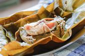 picture of gai  - steamed fish curry custard in banana leaf - JPG