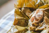 picture of gai  - steamed fish curry custard in banana leaf