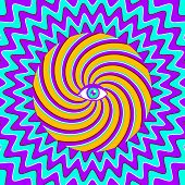 pic of hypnotizing  - Vector color hypnotic retro poster with eye - JPG