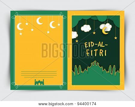 Creative greeting card design decorated with green mosque hanging stars, moons and clouds for famous festival of Muslim community, Eid-Al-Fitri (Eid) celebration.