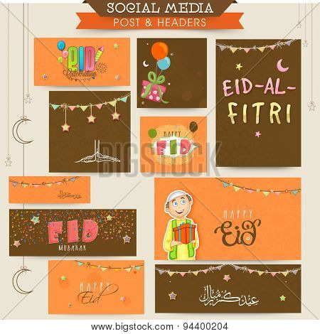 Social media post, header or banner set decorated with different elements for holy festival of Muslim community, Eid Mubarak celebration.