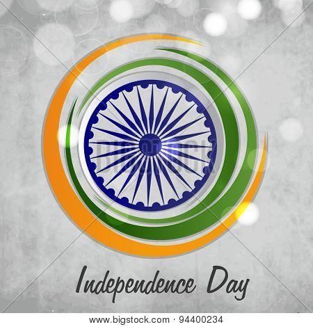 Stylish Ashoka Wheel surrounded by national flag color circles on shiny background for Indian Independence Day celebration.