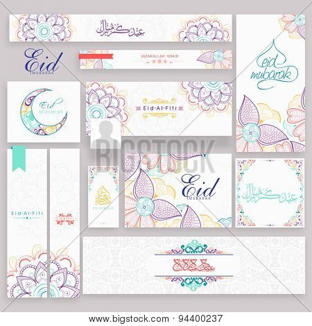 Beautiful floral social media post, header or banner set with crescent moon and Arabic Islamic calligraphy of text Eid Mubarak for Muslim community, festival celebration.