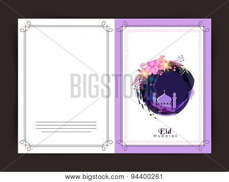 Elegant greeting card design decorated with mosque for Muslim community festival, Eid Mubarak celebration.