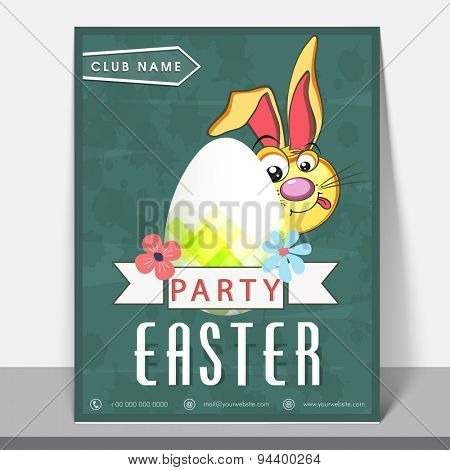 Stylish greeting or invitation card with illustration of cute bunny and shiny egg  for Easter Party celebration.